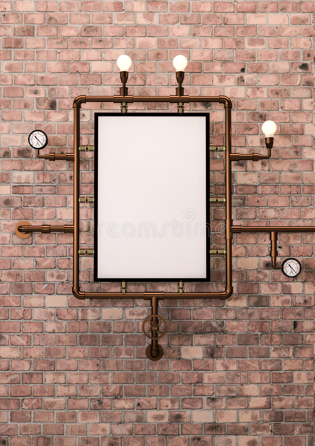 Steampunk mock up poster. A picture frame with copper pipes in steampunk style. A2 paper format stock illustration