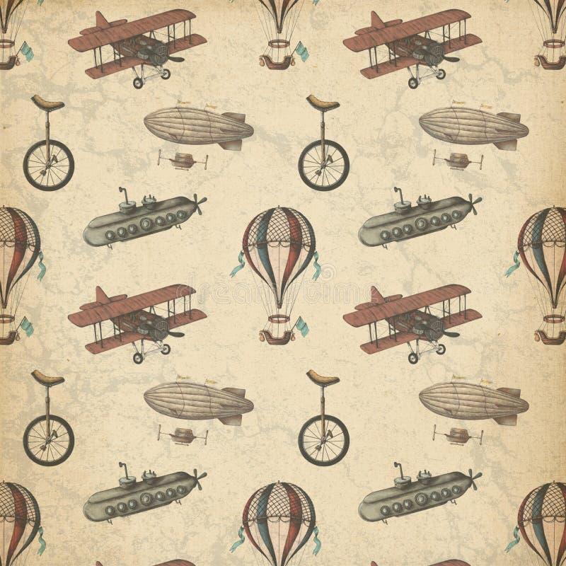 Steampunk a modelé le papier - dirigeables - des avions - monocycle - Steampunk lunatique - cru illustration libre de droits