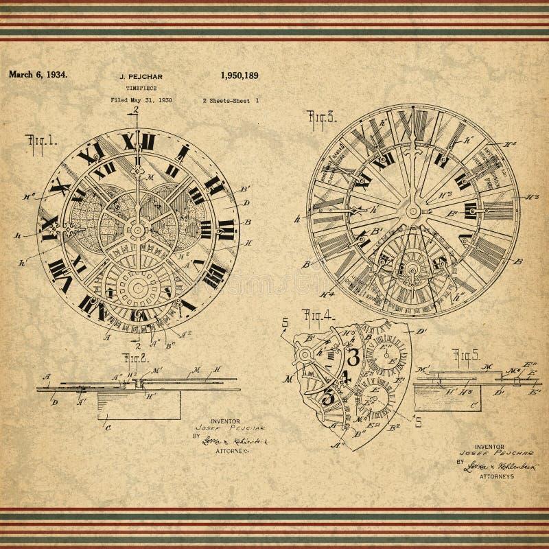 Steampunk modelou o papel - patente do vintage do relógio de bolso - Steampunk - estilo masculino ilustração royalty free