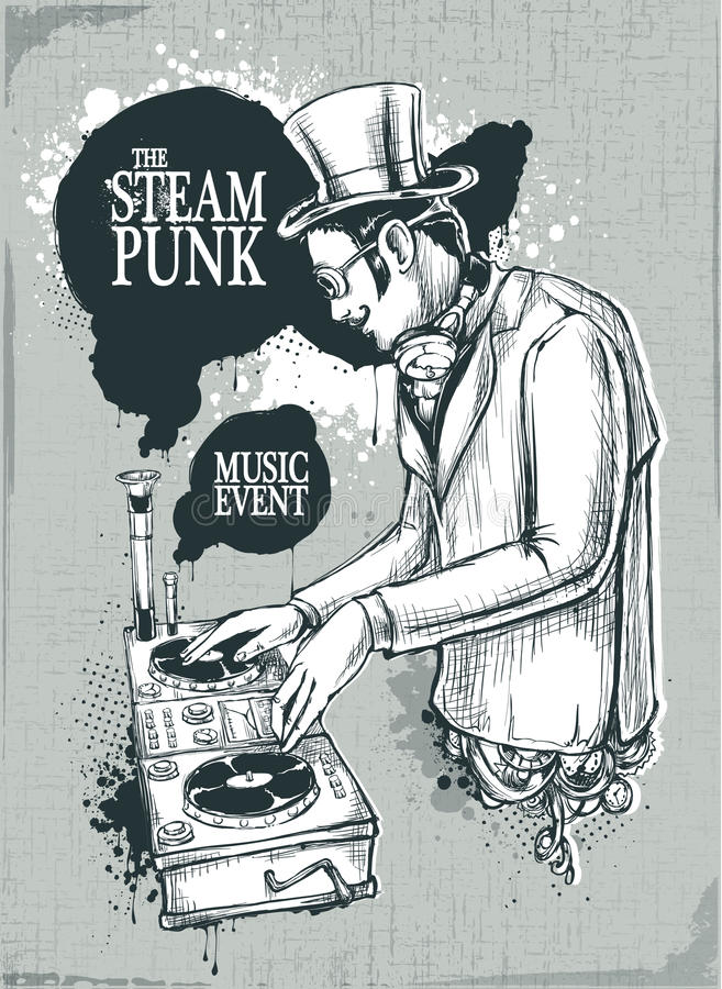 Steampunk musical poster vector illustration