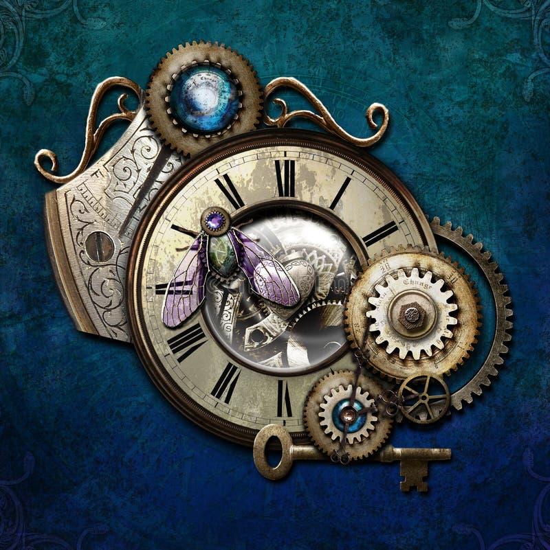 Steampunk no azul ilustração stock