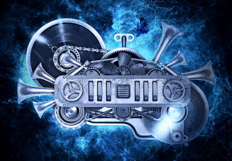 Steampunk old metal collage of vinyl record turntable stock image