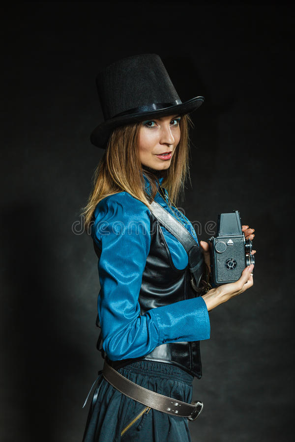 Steampunk with old retro camera. stock images