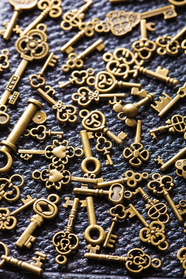 Steampunk old vintage metal keys background royalty free stock images