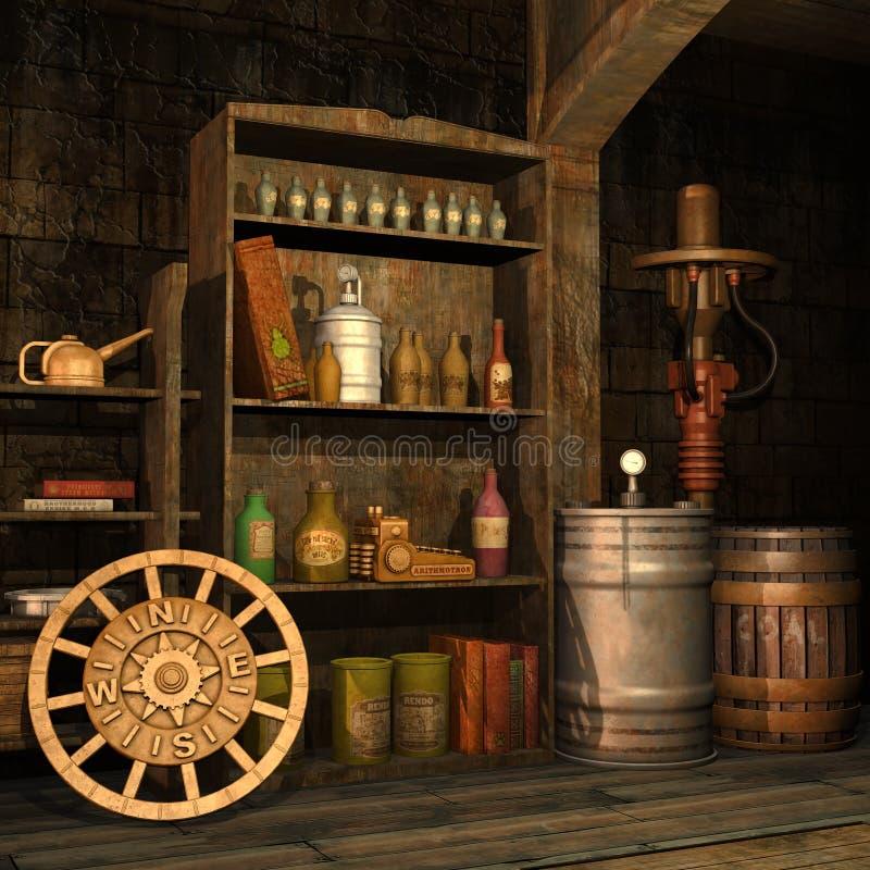 Steampunk piwnica royalty ilustracja
