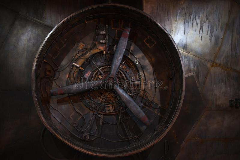 Steampunk retro background. Large propeller stock images