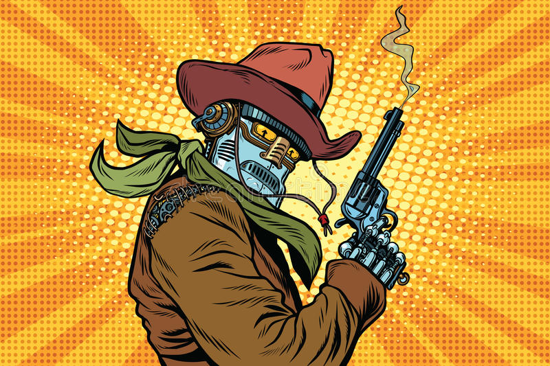Steampunk robot cowboy with Smoking after firing a revolver. Pop art retro vector illustration. Western style. Science fiction royalty free illustration