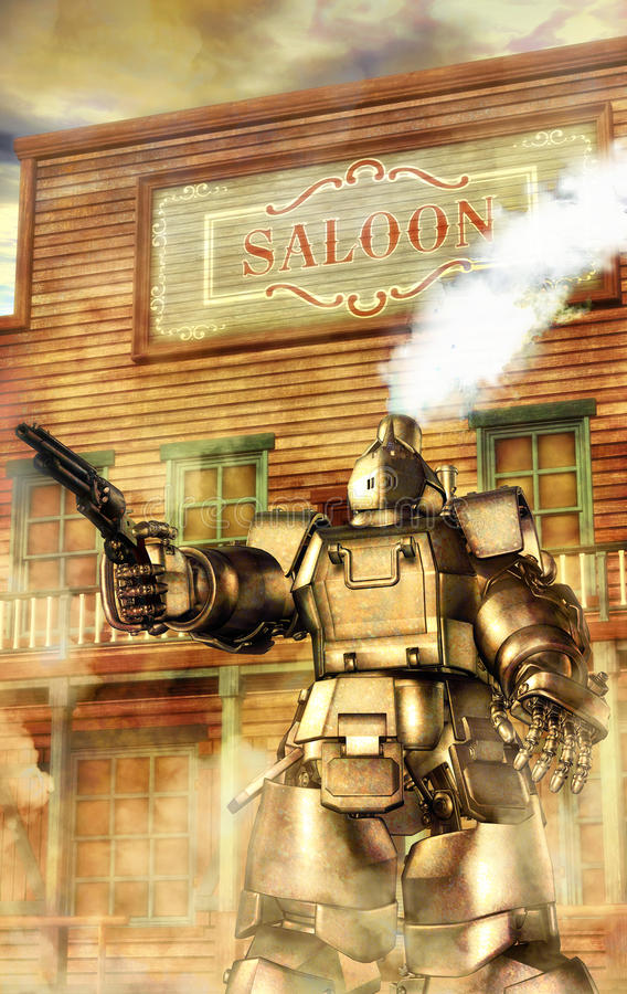 Steampunk robot western royalty free illustration