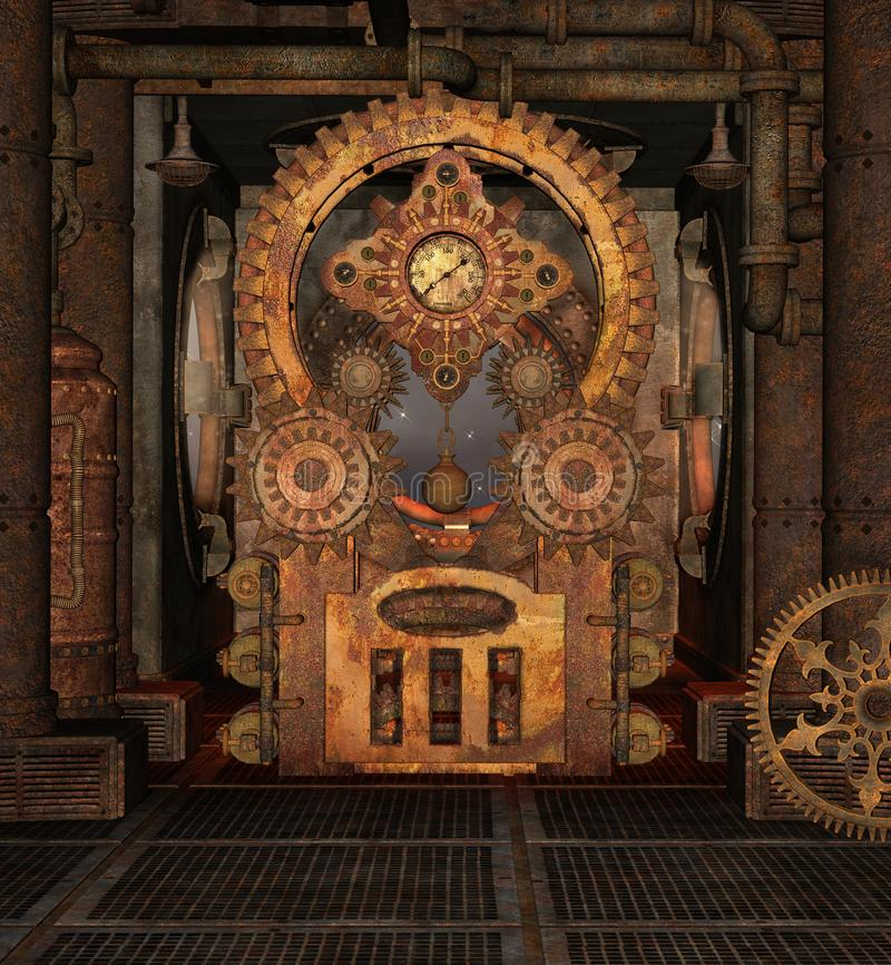 Steampunk rusty background with golden gears. Steampunk rusty room with a big cogwheel – 3D illustration stock illustration