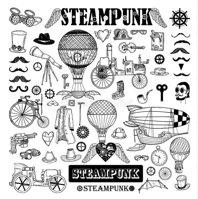 Steampunk samling, hand dragen vektorillustration stock illustrationer