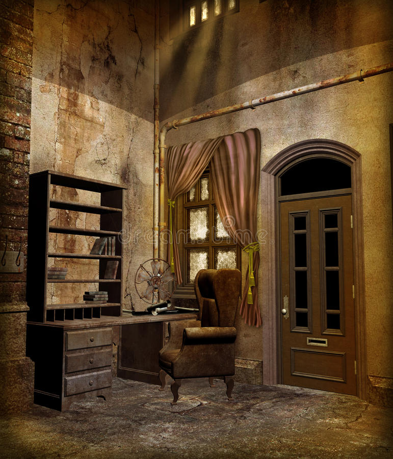 Download Steampunk scenery 3 stock illustration. Image of room - 12896554