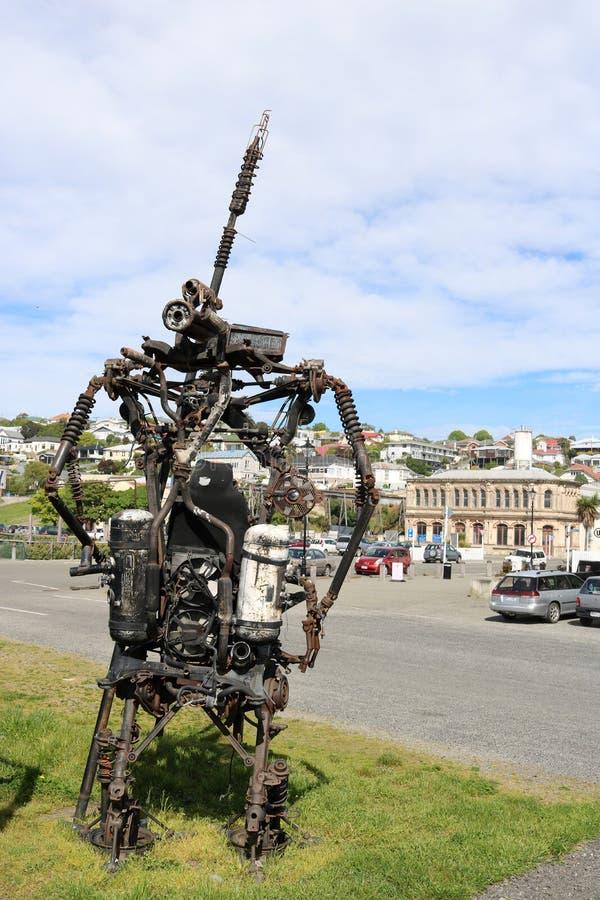 Steampunk sculpture in public area, Oamaru stock photography