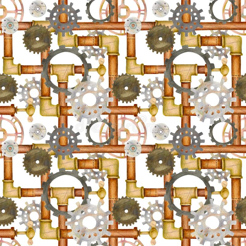 Steampunk seamless pattern with pipes, ventil, valve, gears. royalty free illustration