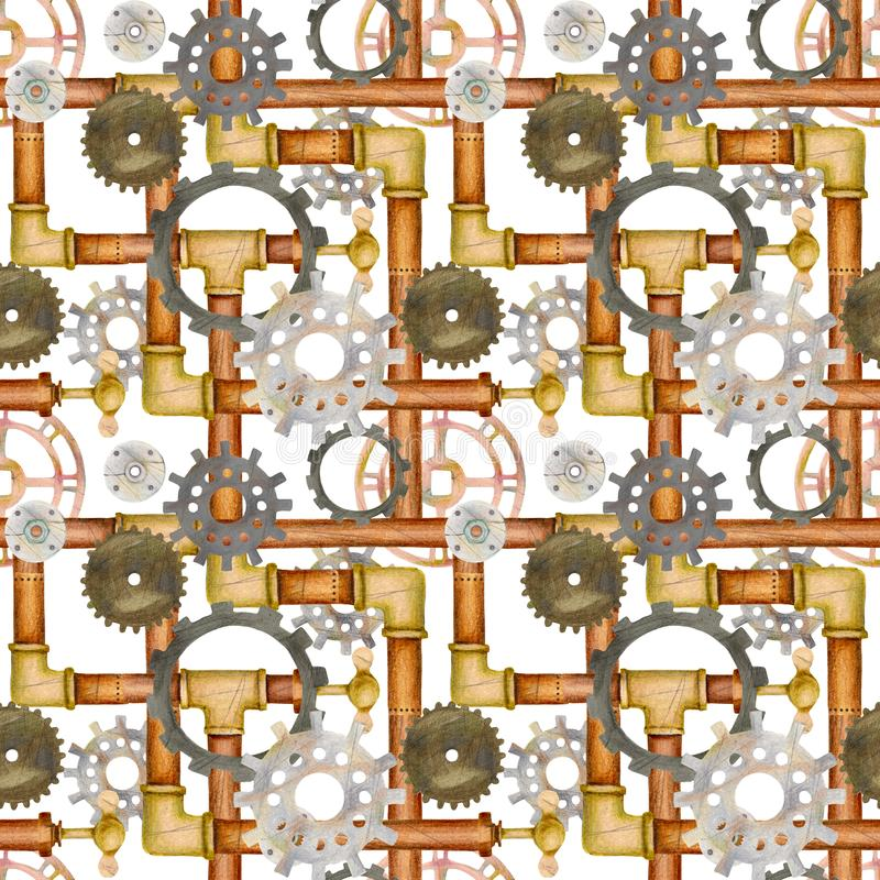 Steampunk seamless pattern with pipes, ventil, valve, gears. stock illustration