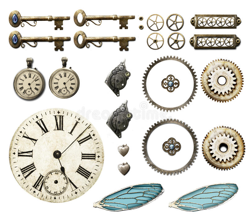 Steampunk selection. Selection of steampunk themed elements isolated on white background