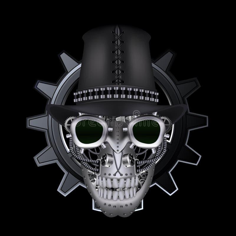 Steampunk skalle med den bästa hatten stock illustrationer