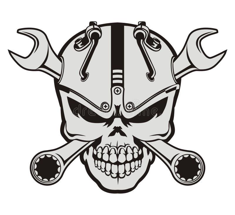 Steampunk skalle och skiftnyckel vektor illustrationer