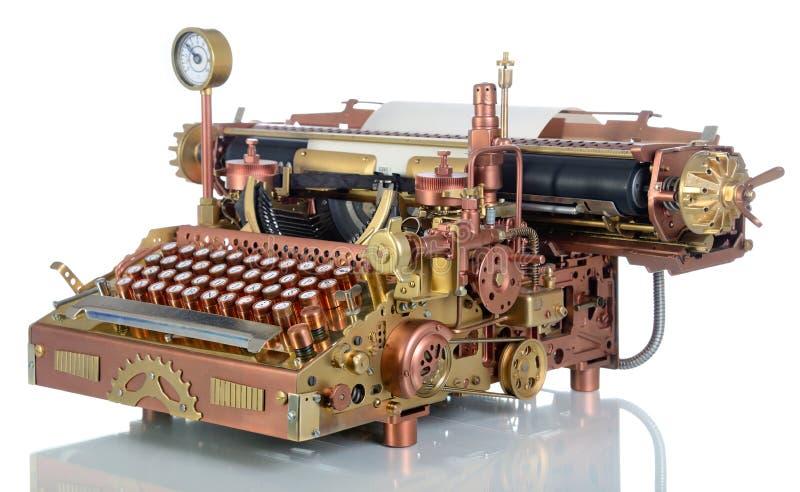 Steampunk skrivmaskin. royaltyfri fotografi