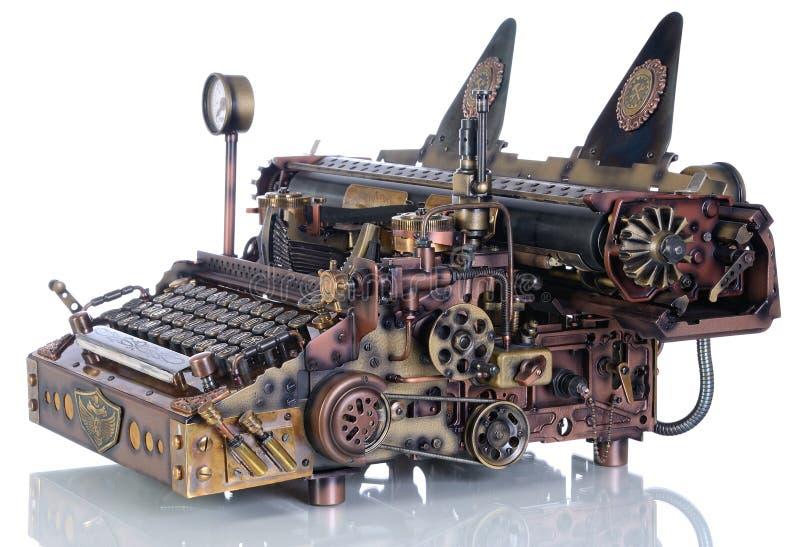 Steampunk skrivmaskin arkivbilder