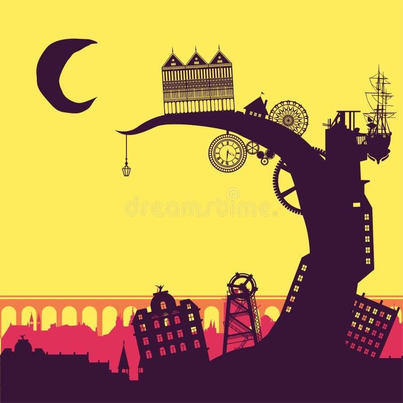 Steampunk stad royaltyfri illustrationer
