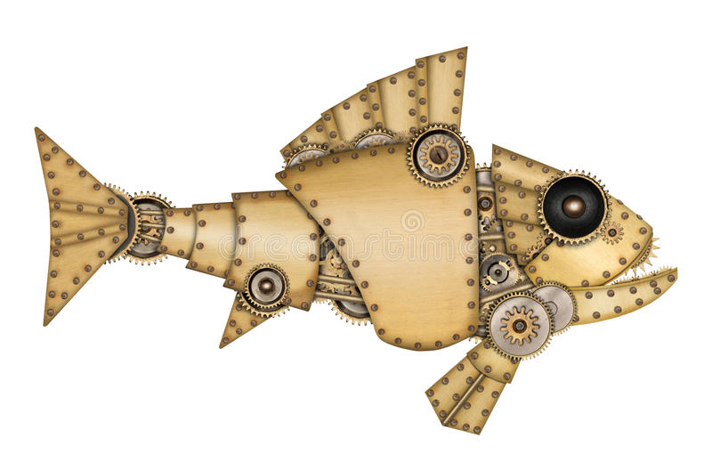 Steampunk stil Industriell mekanisk fisk royaltyfri illustrationer