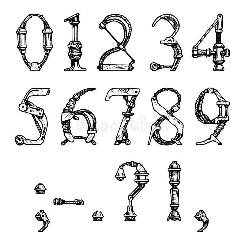 Steampunk stilsort royaltyfri illustrationer