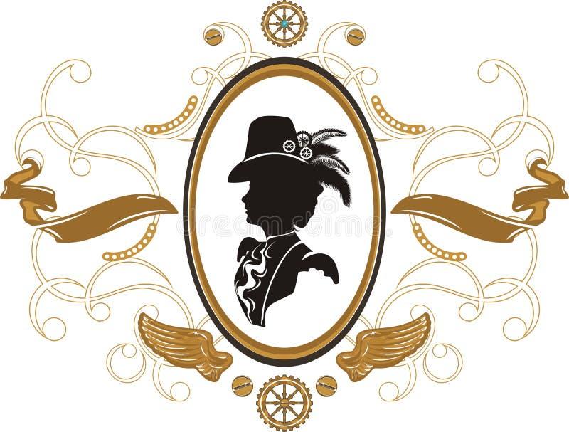 Steampunk style frame vector illustration