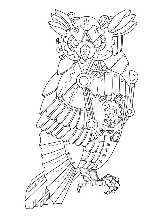 Download Steampunk Style Owl Coloring Book Vector Stock