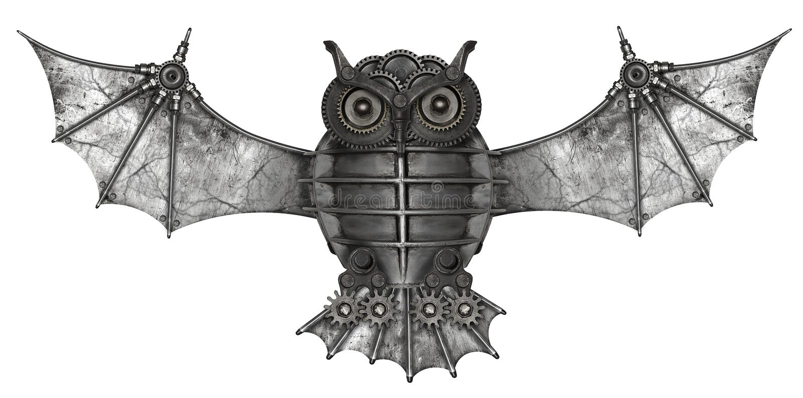 Steampunk style owl. Mechanical animal photo compilation stock photography