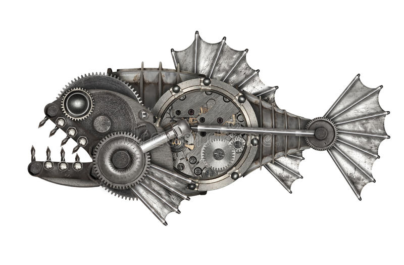Steampunk style piranha. Mechanical animal photo compilation royalty free stock images