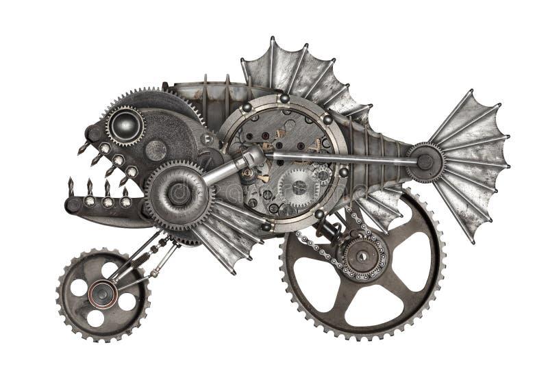 Steampunk style piranha. Mechanical animal photo compilation stock photography