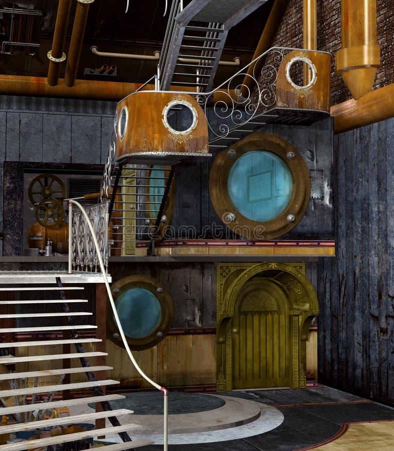 Steampunk stylu fantazji laboratorium royalty ilustracja