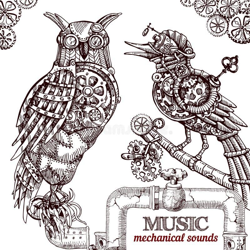 Steampunk stylu sowa ilustracja wektor