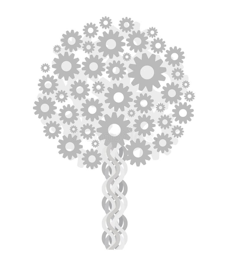Steampunk técnico cinzento metálico claro da árvore das engrenagens isoladas no desenho branco do vetor do fundo ilustração do vetor