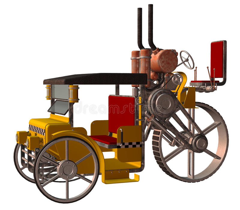 Steampunk taxi. 3D render of fantasy steampunk taxi vector illustration