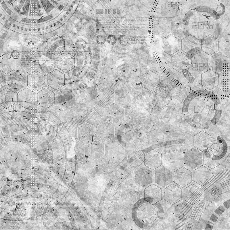 Steampunk-Technologie-Schmutzhintergrund, Dampfpunkelemente stockfoto