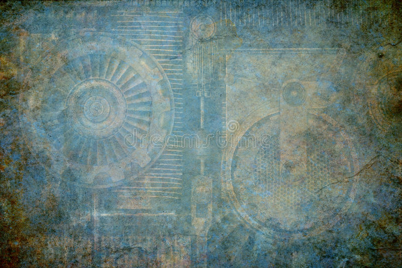 Steampunk Machine Background. Industrial steampunk grunge textured background incorporating old machine elements stock photography