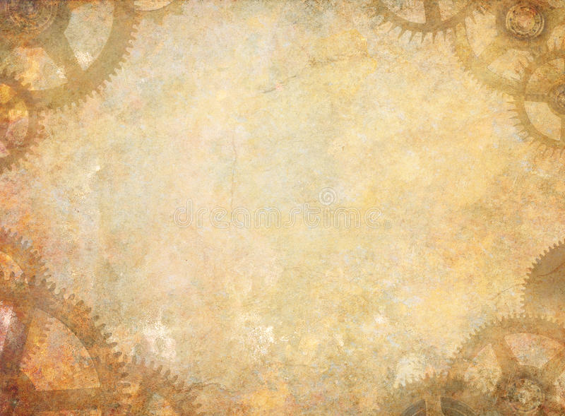 Steampunk Texture Background. Industrial steampunk grunge textured background with clock cogs royalty free stock image