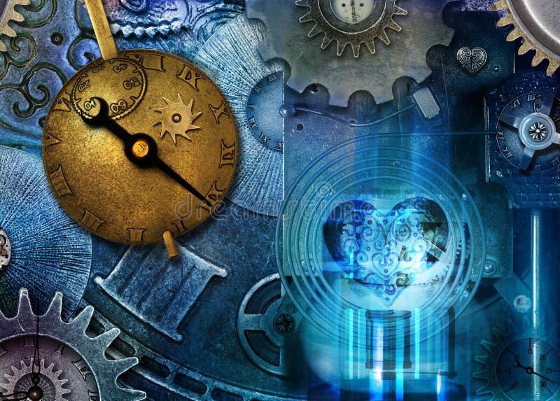 Steampunk Time Machine. Fantasy science fiction steampunk time machine made from clock parts and steampunk jewelry