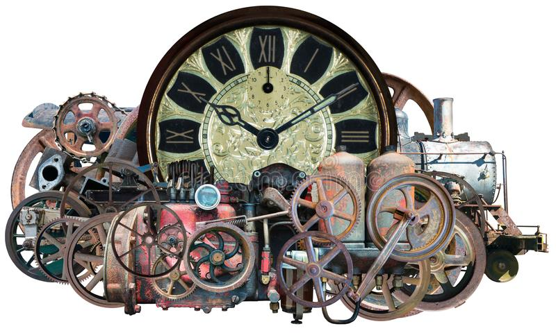 Steampunk Time Machine Technology Isolated. Steampunk time machine. The mechanical technology device is made of old, retro vintage parts. isolated on white, PNG stock photos