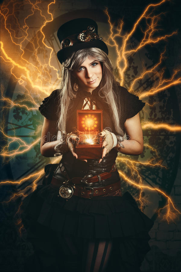 Steampunk time traveller. With old compass royalty free stock image