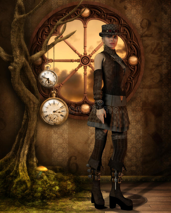 Steampunk Tree of Time vector illustration