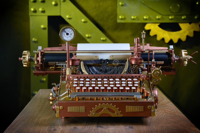 Steampunk Typewriter. Steampunk style future Typewriter. Hand/home made model stock photos