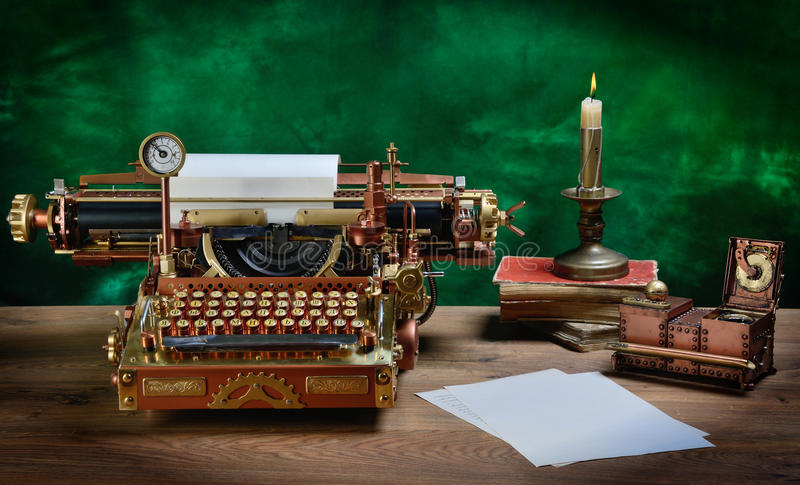 Steampunk Typewriter. Steampunk style future Typewriter. Keyboard with the pre-revolutionary Russian typeface (Till 1918). Hand/home made model royalty free stock images
