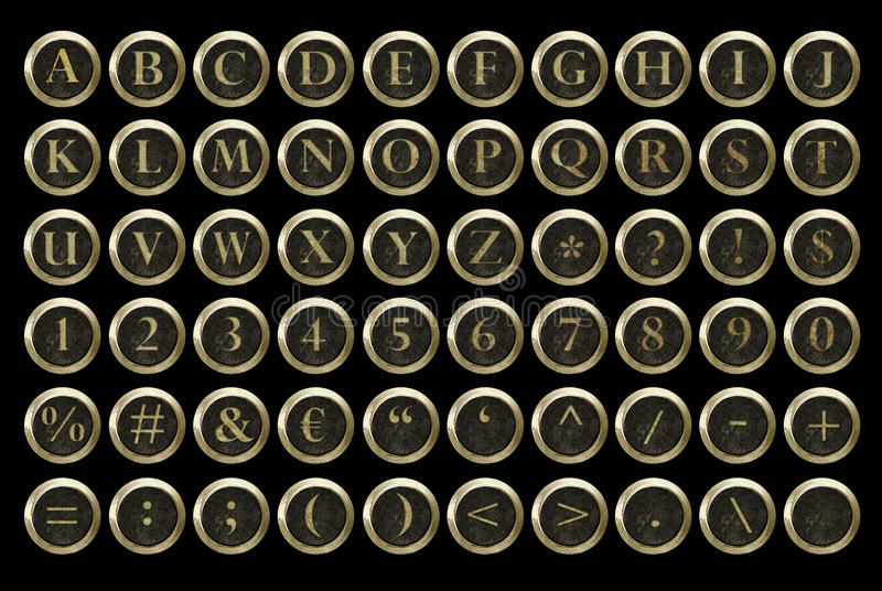 Steampunk typewriter key alphabet stock image