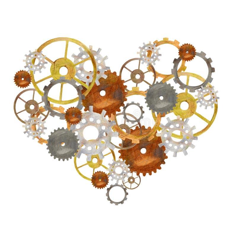 Steampunk uitstekend hart met radertjes en toestellen royalty-vrije stock afbeeldingen