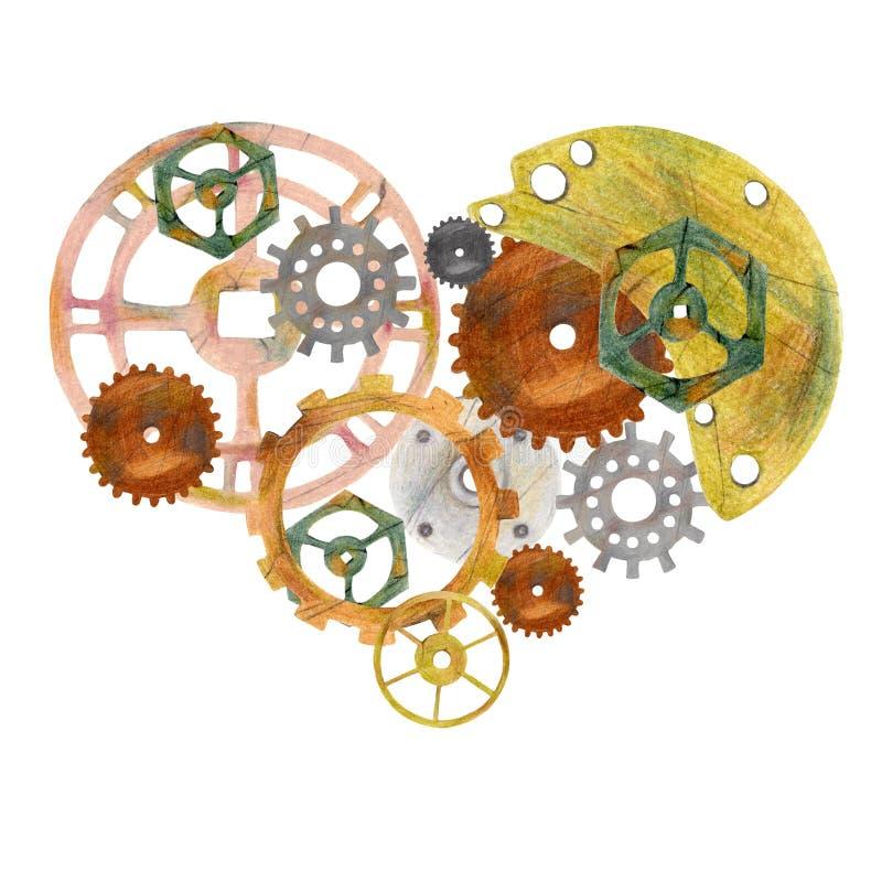 Steampunk uitstekend hart met radertjes, toestellen en ventils stock illustratie