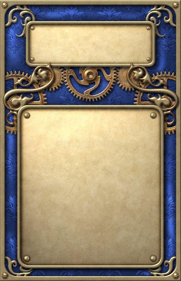Steampunk victorian golden frame with clockwork mechanism stock illustration