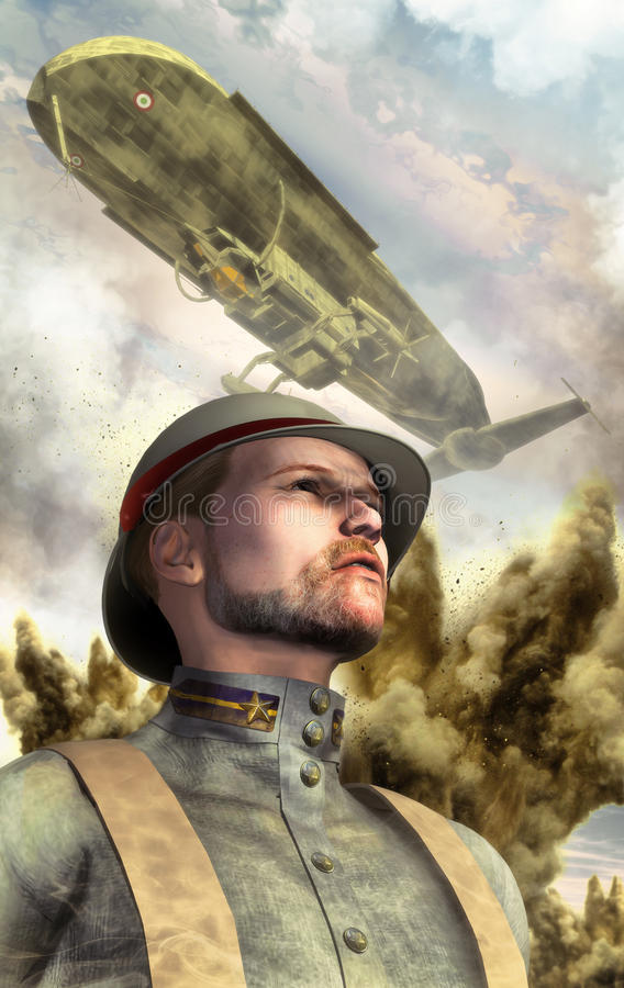 Steampunk war airship and soldier stock illustration