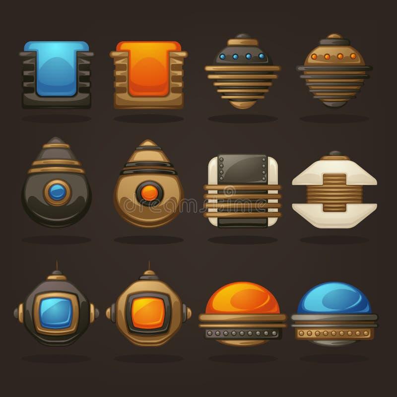 Steampunk wartość dla twój mobilnej gry, retro futurystyczny mechanica ilustracji